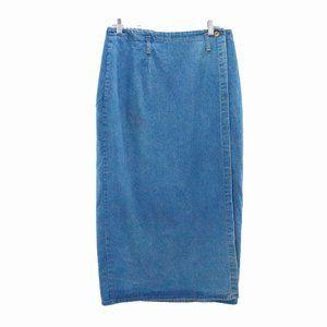Vintage Hunt Club Button Wrap Denim Skirt